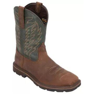Ariat Dalton Western Work Boots for Men - Brown/Pine Green - 10.5M