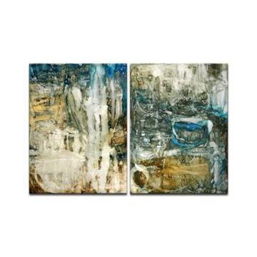 "Ready2HangArt, 'Ravine Falls I/Ii' 2 Piece Abstract Canvas Wall Art Set, 40x30"""