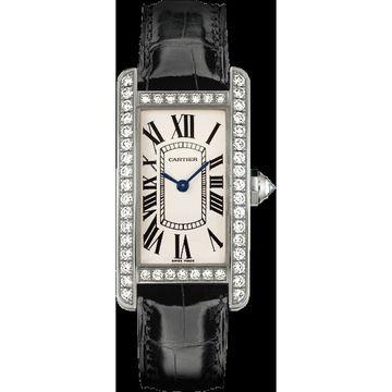 Cartier Men's WJTA0003 'Tank' Black Leather Watch