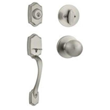 Kwikset Belleview Entry Handle Set With Polo, Satin Nickel