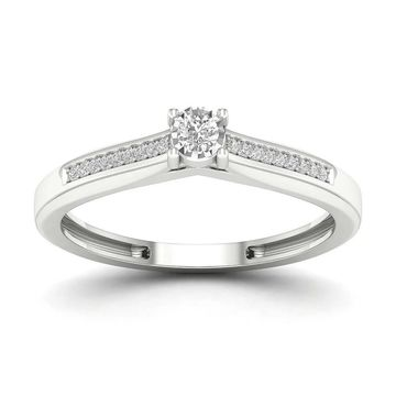 De Couer 1/10ct TDW Diamond Classic Ring - White