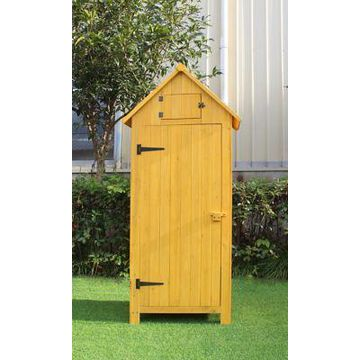 Hanover Outdoor Wooden Storage Shed with Pitched Roof, 3 Shelves and Locking Latch, HANWS0102-GRY