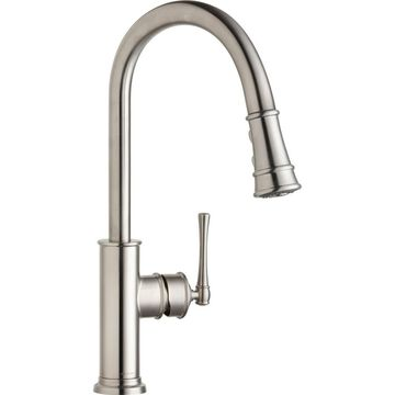 Elkay Explore Lustrous Steel 1-Handle Deck-Mount Pull-down Handle Kitchen Faucet