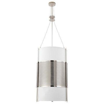 Nuvo Lighting Diesel Polished Nickel Pendant With Slate Gray Fabric Shad