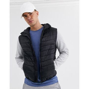 New Look jersey sleeve vest in black