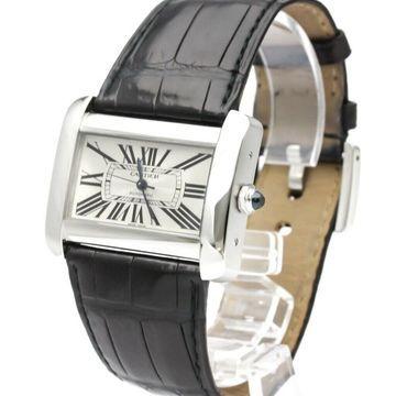 Cartier Men's W6300755 'Tank' Black Leather Watch