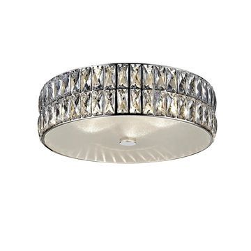 Access Lighting Magari 15-inch Mirrored Stainless Steel Crystal Flush Mount with Crystal Glass Shade