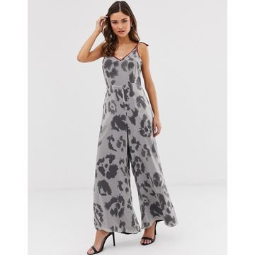 Religion wide leg jumpsuit with contrast trim in leopard-Gray