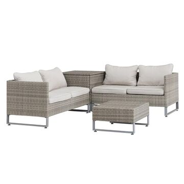 Sunjoy 4 piece All-weather Wicker Seating Set with Beige Cushions (Beige)
