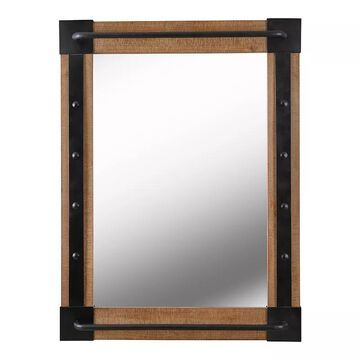 Kenroy Home Kestrel Reclaimed Wood and Matte Black Wall Mirror, Brown, 40X30