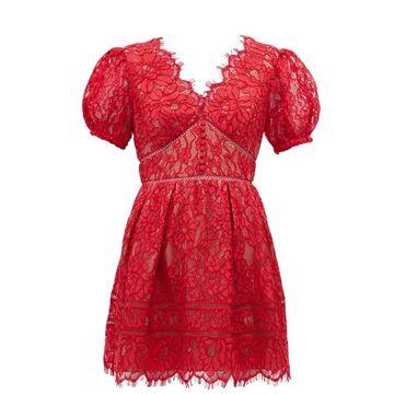 Self-portrait - Puffed-sleeve Guipure-lace Mini Dress - Womens - Red