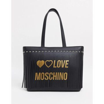 Love Moschino winged tote bag with scarf in black