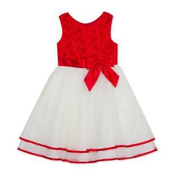Toddler Girls Basketweave Bow Dress