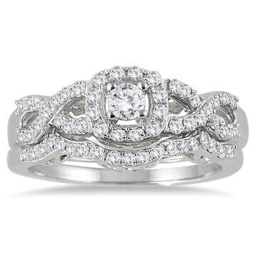 Marquee Jewels 10k White Gold 3/4ct TDW Diamond Halo Bridal Ring Set