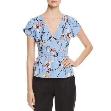 Vero Moda Womens Cannes Floral Print V-Neck Peplum Top