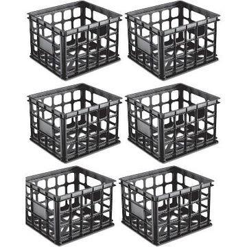 Sterilite Plastic Black Storage Box Milk Crate Containers Home (6 Pack) 16929006
