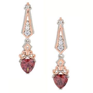 Michael Valitutti Palladium Silver Rose & White Zircon Drop Earrings
