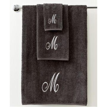 "Avanti Bath Towels, Monogram Initial Script Granite and Silver 27"" x 52"" Bath Towel Bedding"