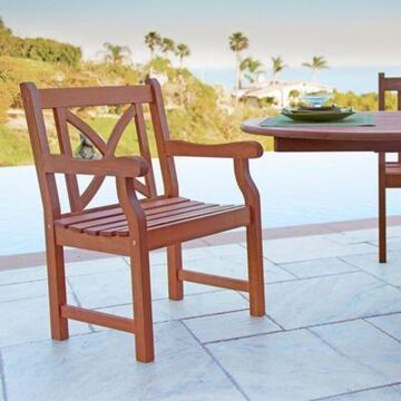 Vifah X-Back Outdoor Armchair in Natural Wood