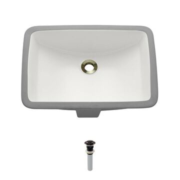 MR Direct Bisque Porcelain Undermount Rectangular Bathroom Sink with Overflow (Drain Included) (20.75-in x 14.75-in) in Off-White | U1913-B-PUD-ABR