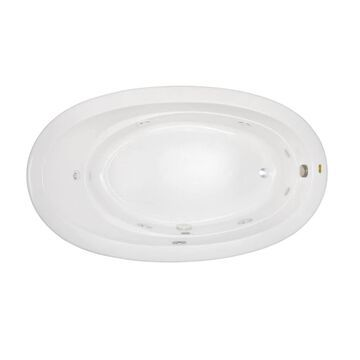 Jacuzzi Riva 42-in W x 72-in L White Acrylic Oval Left Drain Drop-In Whirlpool Tub   RIV7242WLR2HXW