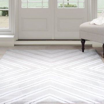 Somerset Home Kaleidoscope Area Rug, Grey and White