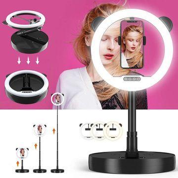 10-inch Portable Studio Ring 128-LED Lamp Kit, Folding/Tilt Design, USB Power, Light/Temp Adjustment