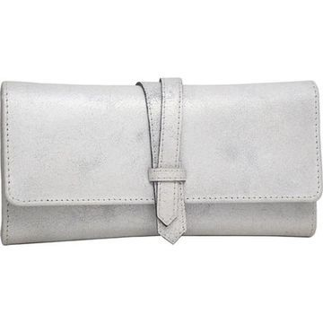 Nino Bossi Women's Crackle Flap Wallet Silver - US Women's One Size (Size None)