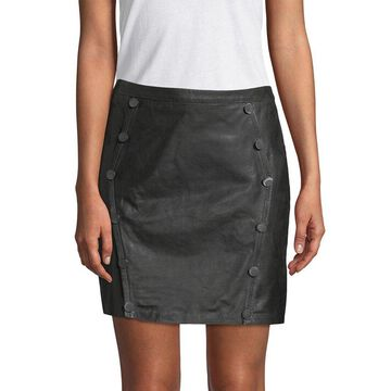 The Kooples Womens Buttons Leather Skirt