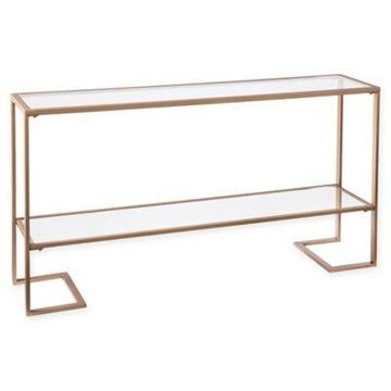 Southern Enterprises Horton Narrow Console in Gold with Mirror