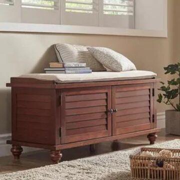 Maybelle Velvet Cushion Shutter Door Storage Bench by iNSPIRE Q Classic