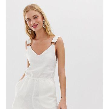 Monki linen romper in off white