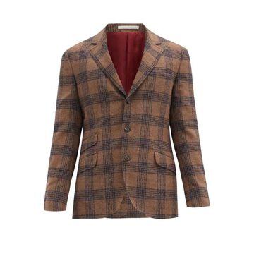 Brunello Cucinelli - Single-breasted Checked Alpaca-blend Blazer - Mens - Brown Multi