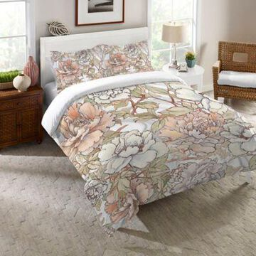 Laural Home Blushing Pale Pink Peonies Queen Duvet Cover in Pink