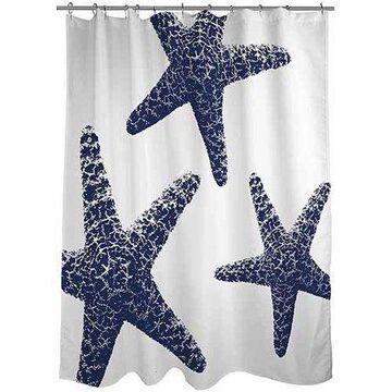 Nautical Nonsense Blue White Starfish Shower Curtain, 71