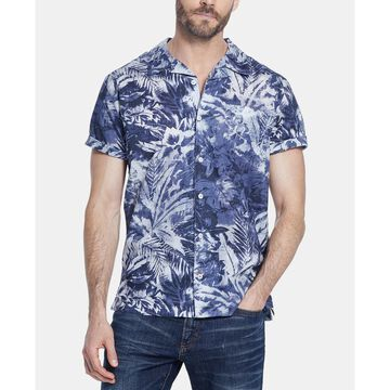 Men's Foliage Print Camp Shirt