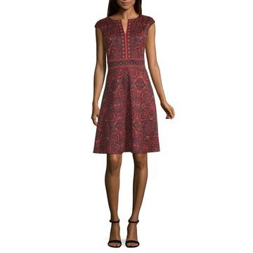 London Times Short Sleeve Floral Fit & Flare Dress-Petite