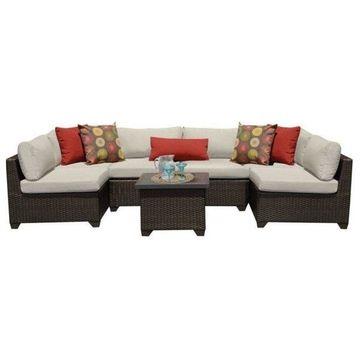 TK Classics Belle 7-Piece Outdoor Wicker Sofa Set, Beige