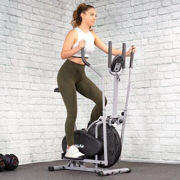 XtremepowerUS 2-in-1 Elliptical Fan Bike Dual Cross Trainer Machine Workout Exercise LCD Monitor with Heart Rate Sensor