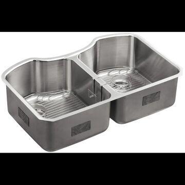 "Kohler K-3843 Octave 32"" Double Basin Under-Mount 18-Gauge Stainless Steel Kitchen Sink with SilentShield Stainless Steel Fixture Kitchen Sink"