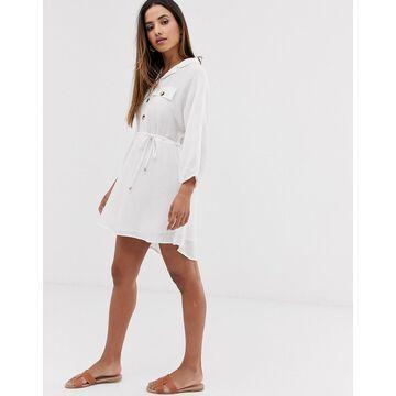 Vila pocket detail mini dress with tie waist-White