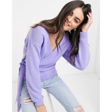 Glamorous v-neck wrap knitted sweater in lavender-Purple