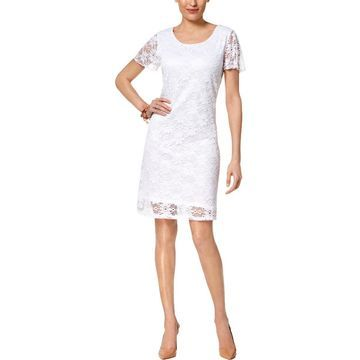 NY Collection Womens Cocktail Dress Mini Lace Overlay
