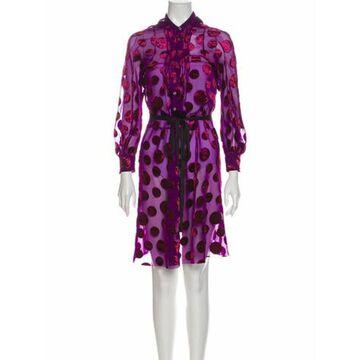 Polka Dot Print Knee-Length Dress Purple