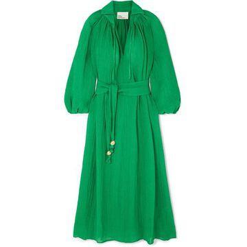 Lisa Marie Fernandez - Poet Belted Linen-blend Maxi Dress - Green
