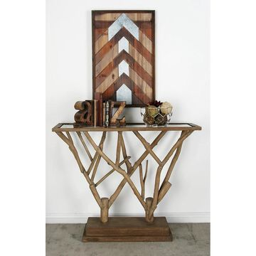 Natural 36 x 45 Inch Branch Design Wooden Console Table by Studio 350 (WD GLS CONSOLE TABLE 45