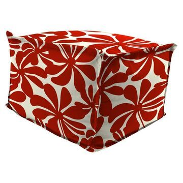 Outdoor Bean Filled Pouf/Ottoman In Twirly American Red - Jordan Manufacturing