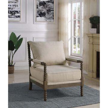 "Coaster Nikki Upholstered Accent Chair, Beige - 29.50"" x 34"" x 38"""