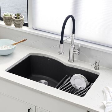 BLANCO Diamond Undermount 32.07-in x 20.875-in Anthracite (Black) Double Offset Bowl Kitchen Sink   441590