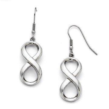 Primal Steel Stainless Steel Polished Infinity Symbol Shepherd Hook Earrings
